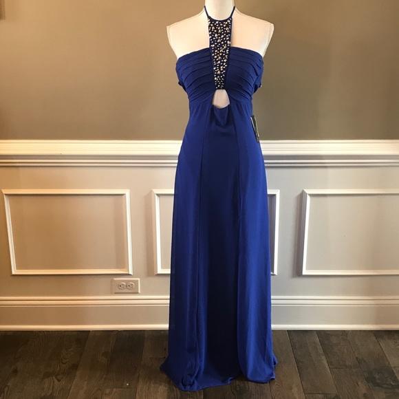 d41b7f575 BCX Dresses | Long Formal Dress 11 0 Blue Beaded Halter | Poshmark
